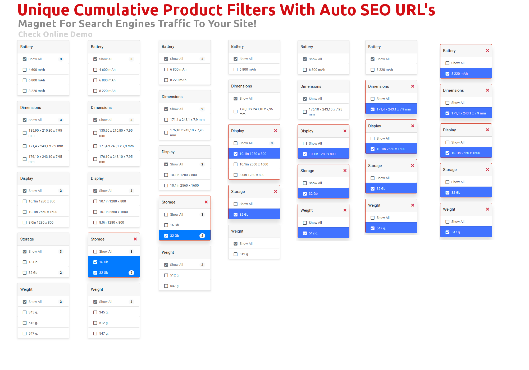 Unique Cumulative Product Filters With Auto SEO URL